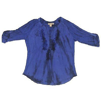 Vintage America Womens Size Medium Liliana Peasant Blouse, Twilight Blue