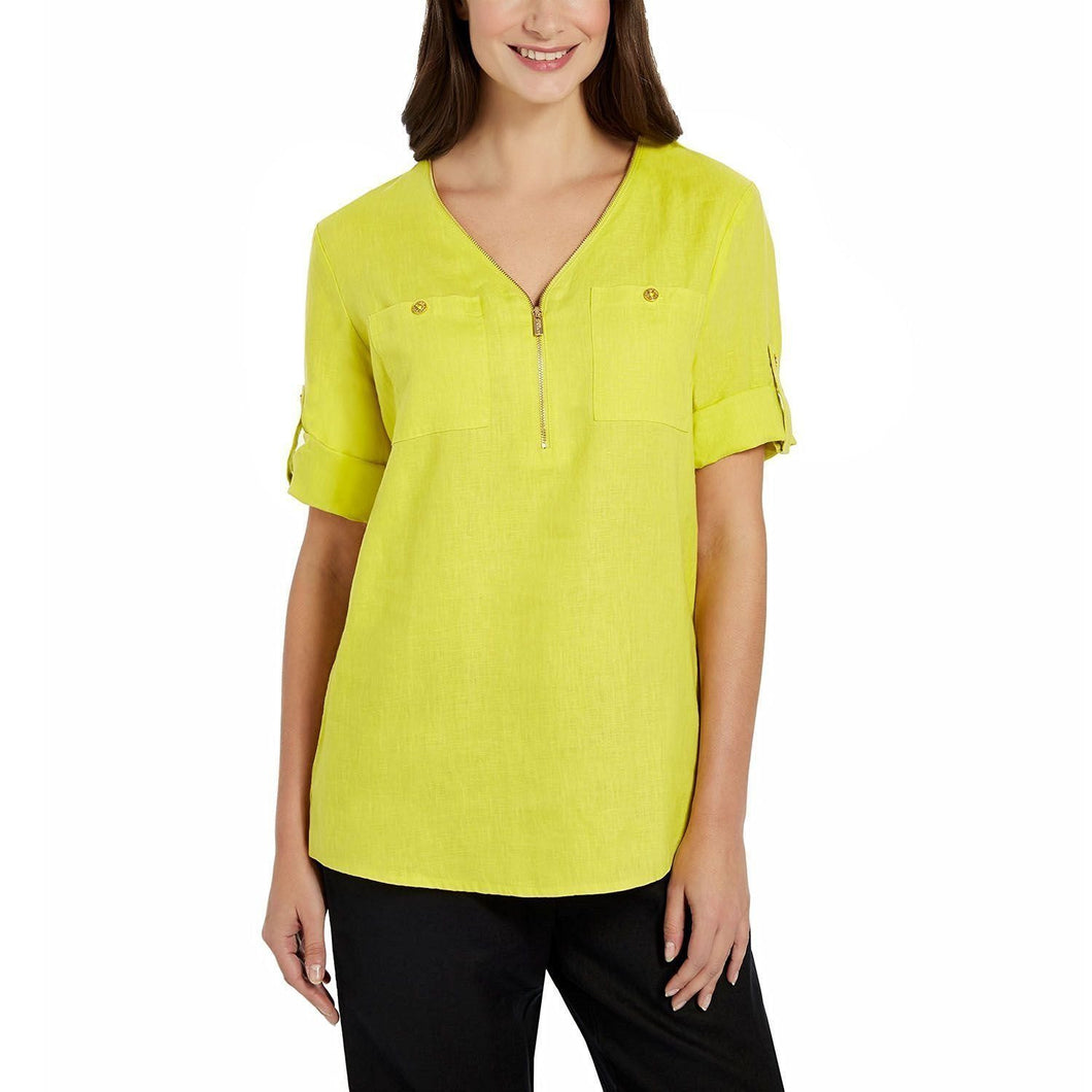 Ellen Tracy Womens Size Small Quarter Zip Roll-Tab Linen Blouse, Limeade/Gold