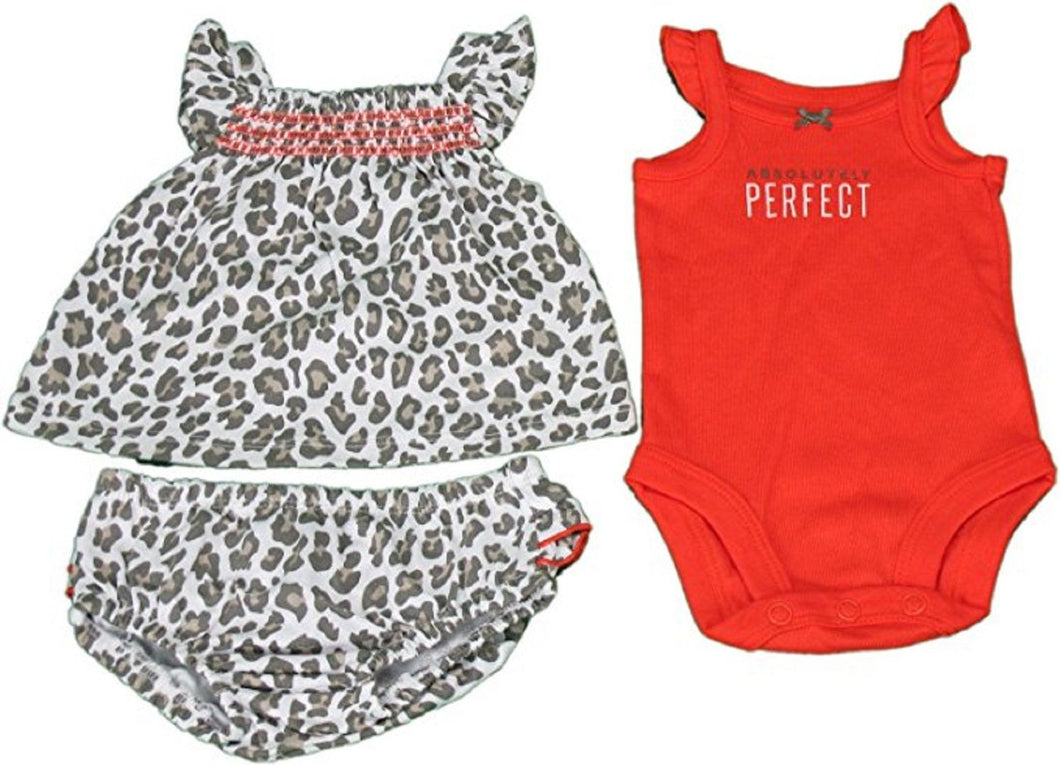 Carter's Baby Girls Size NB Animal 3-Pc Set: Top/Bloomers/Bodysuit, Multi-Color