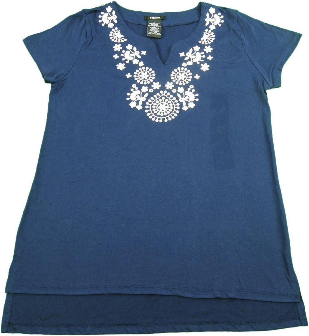 Premise Ladies Size Small Embroidered Top, Regal Navy