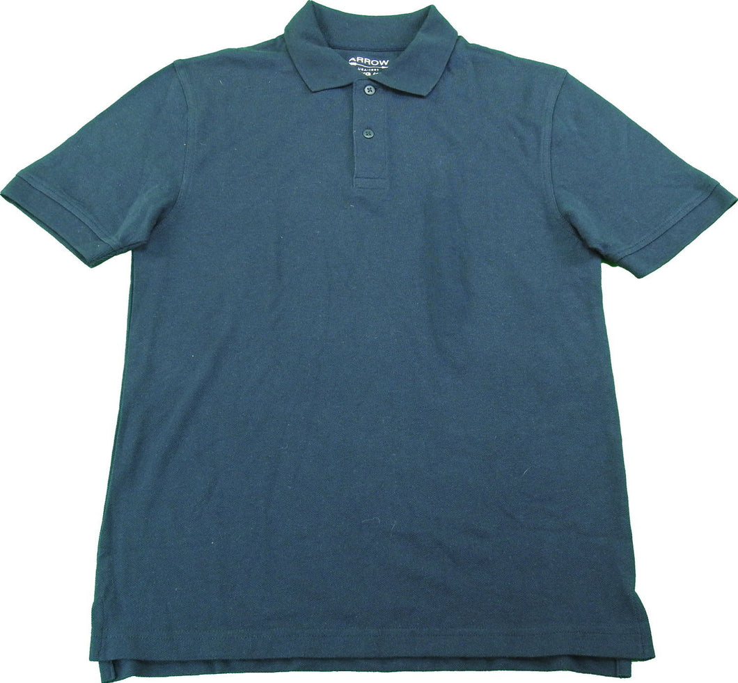 Arrow Boys Size XL (16) Short Sleeve Polo School Uniform Shirt, Navy Blue