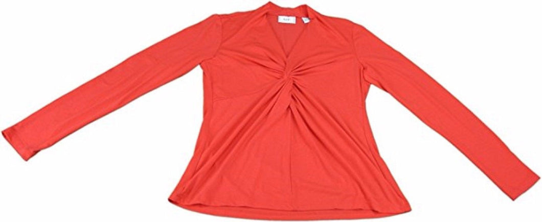 Eci New York Ladies Size Medium Long Sleeve Twist Front Blouse Shirt, Red