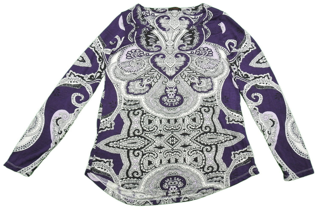 Fylo Womens Long Sleeve Blouse, Purple Baroque Print
