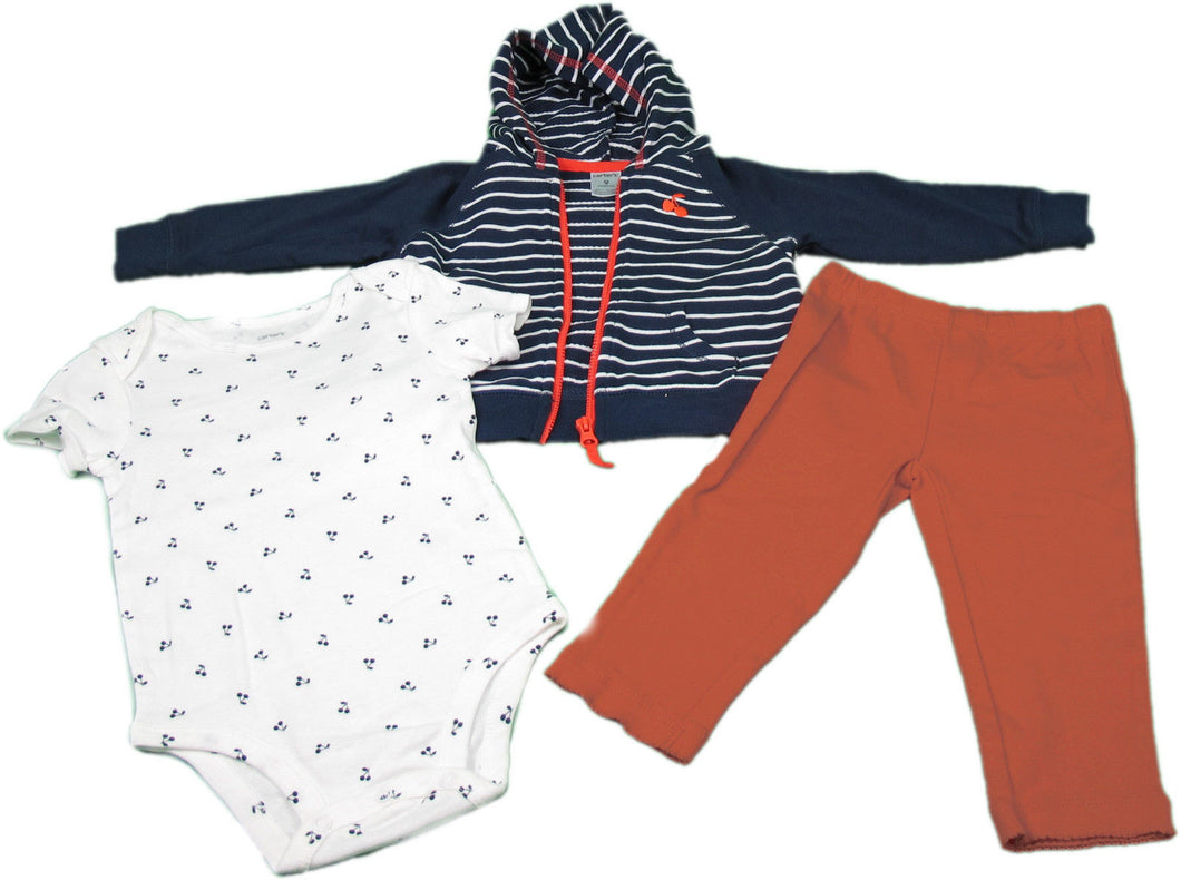 Carter's Baby Girl 3-Piece Hooded Cardigan Cherry Design Sets, Orange/Blue/White