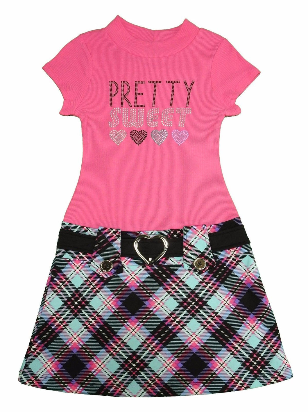 Pink & Violet Girls Short Sleeve Dress, Fuchsia Plaid