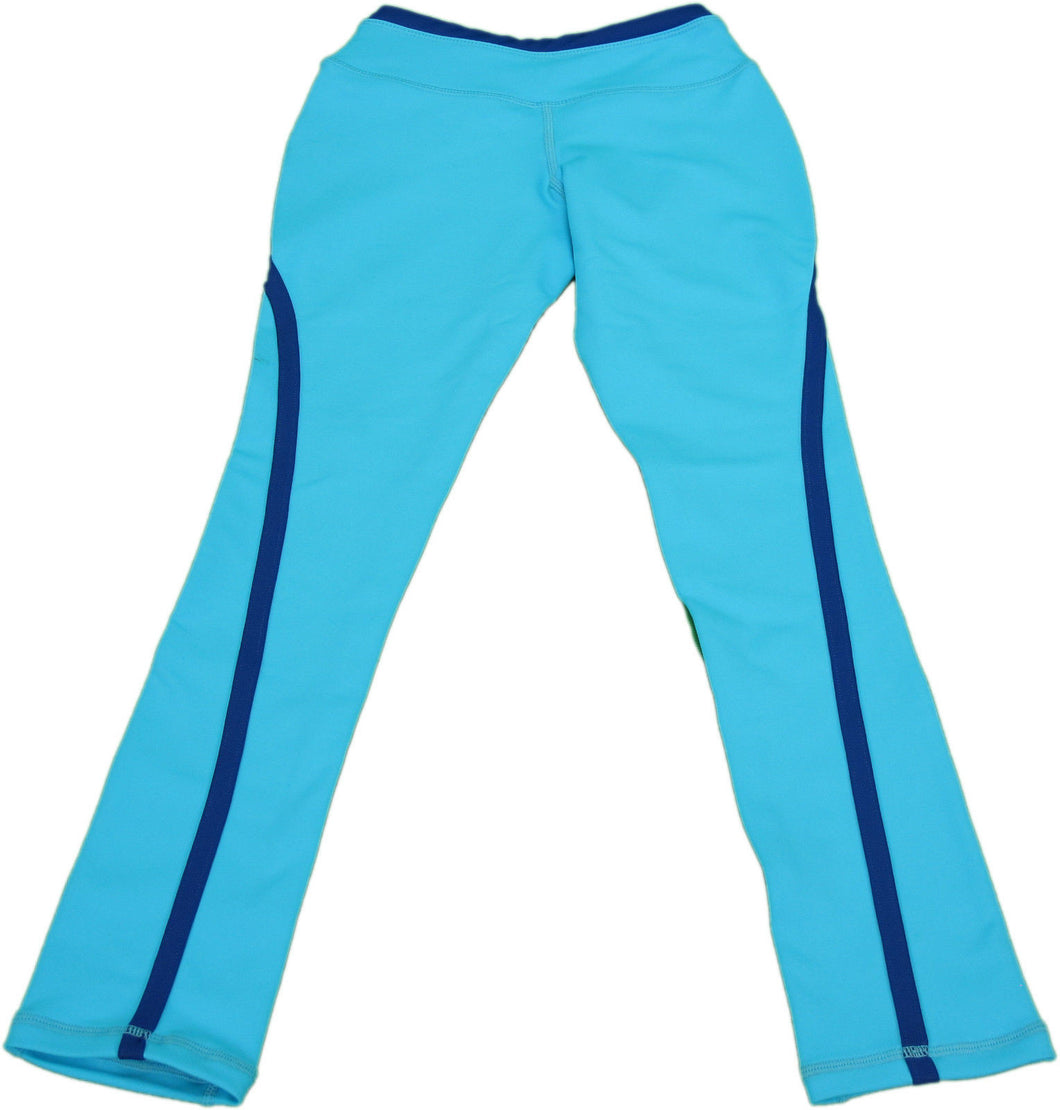 Tangerine Kids Girls Size X-Small 4 Active Leggings, Solid Blue Atoll/Blue Algae