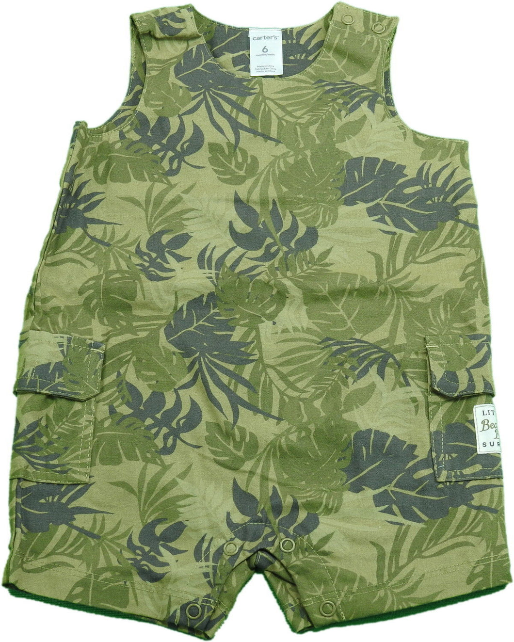 Carters Baby Boys 1-Pc Sleeveless Romper Shorts, Green/Camo