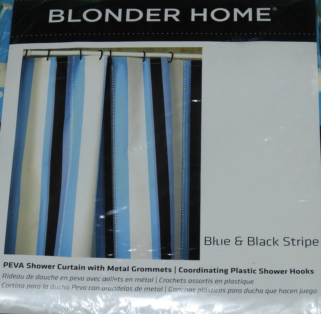 Blonder Home Shower Curtain-Stripe/Shower Hooks, Blue/Black/Off White
