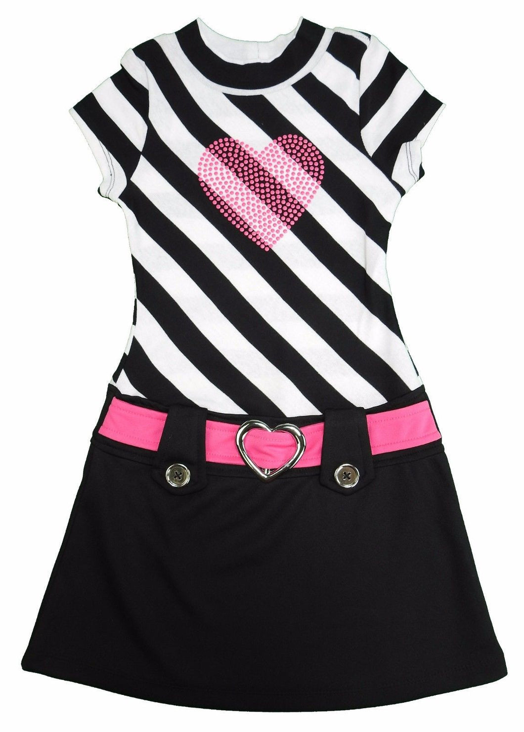 Pink & Violet Girls Short Sleeve Dress, Black/White Stripe