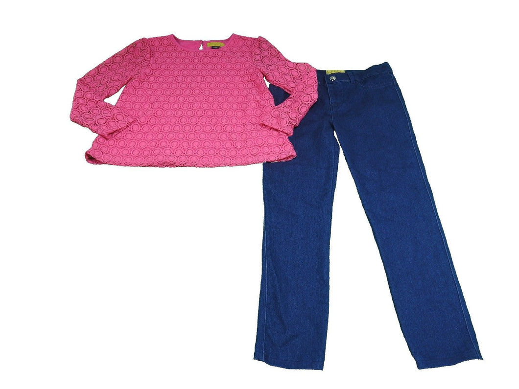 Nicole Miller Girls Size 7 (2-Piece) Pants/Shirt Set, Fuchsia Purple/Blue