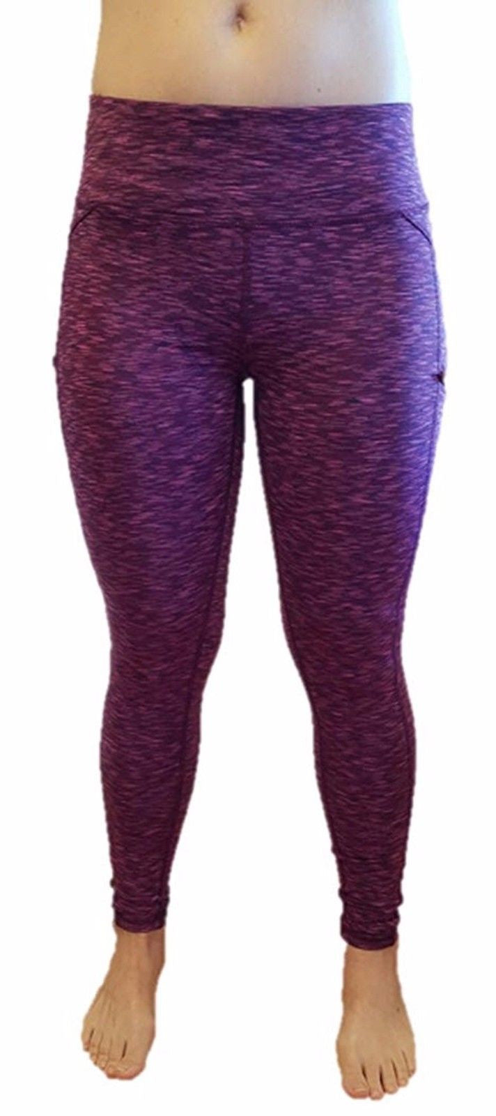 Z by Zobha Womens Full Length The Outsider Active Leggings, Beet Root Space Dye