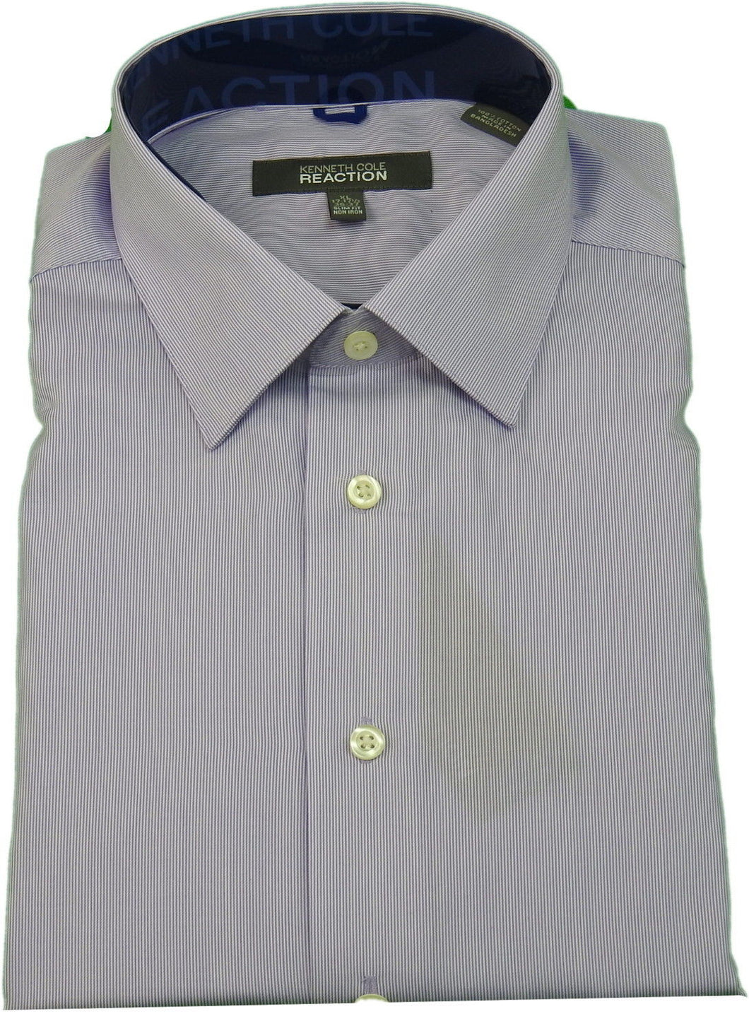 Kenneth Cole Reaction Men's Slim Fit Non Iron Button Down Shirt,Lt. Purple/White