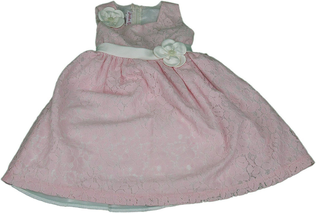 Jessica Ann Pink Lace Girls Size 12 Mo. Dress With White Sash & Bloomers, Pink