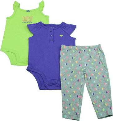 Carter's 3-Pc Baby Girls 6 Mo. 2-Bodysuits and Legging Set, Green/Purple Hearts