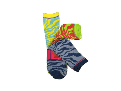 Socks Ladies 3-Pair Designer Size 9-11 Green/Blue/Yellow Animal Print Socks