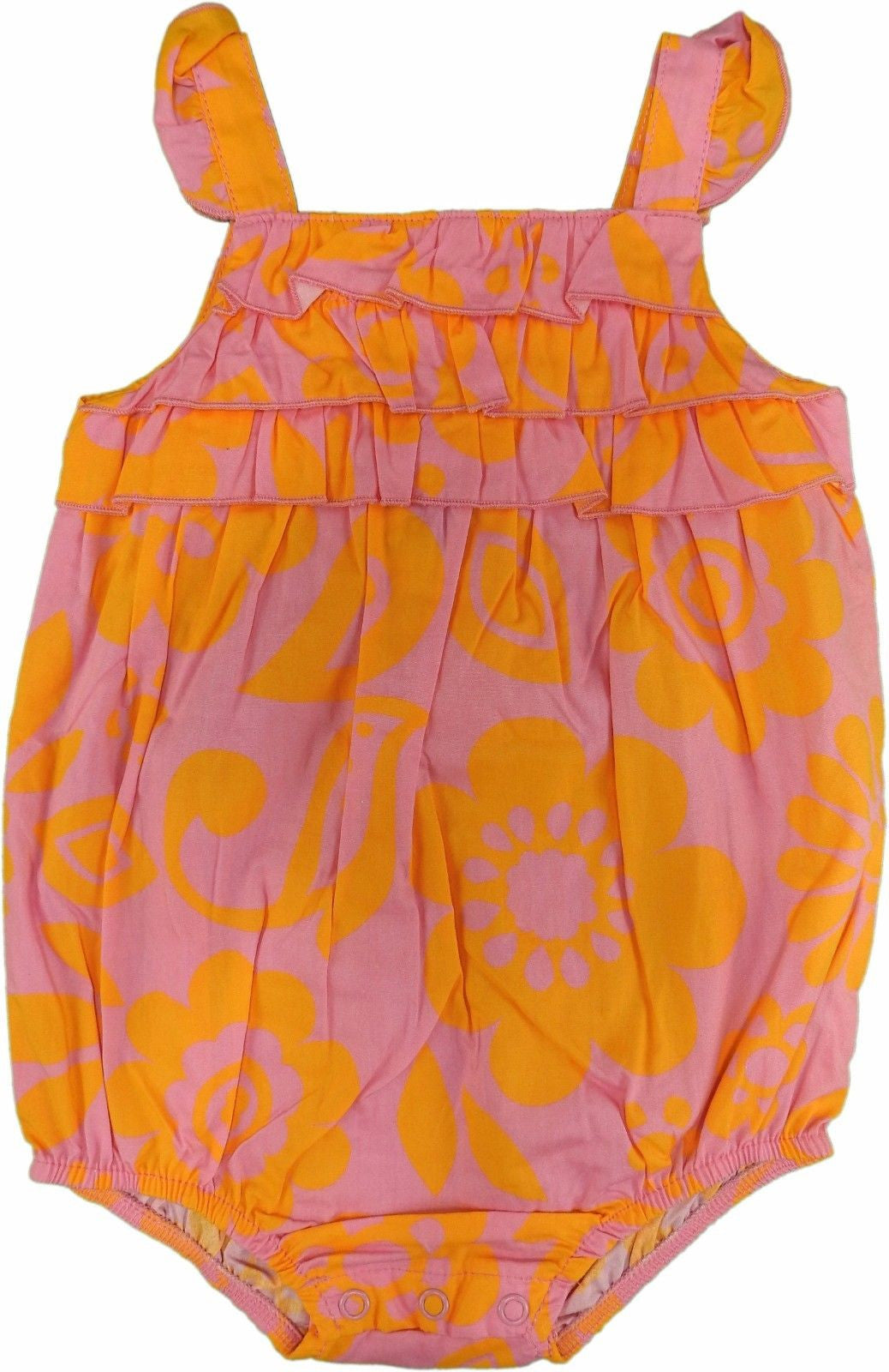 Carter's Baby Girls Everyday Easy 1-Piece Romper, Floral Pink/Orange