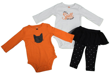 Carter's 3-Pc Girls Halloween Bodysuit & Legging Set, Orange/White