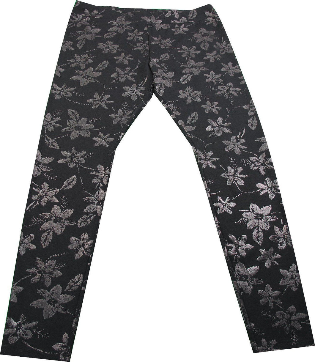 June & Daisy Ladies Size Small Ponte Ankle Length Leggings, Shimmer Floral