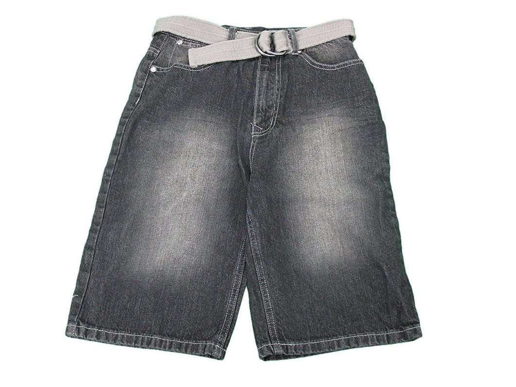 English Laundry Boys Size 12 Long Denim Shorts w/ Belt, Black