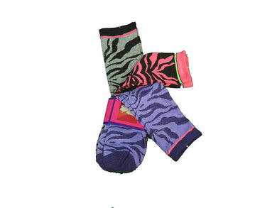 Socks Ladies 3-Pair Designer Size 9-11 Black/Pink/Purple Animal Print Socks