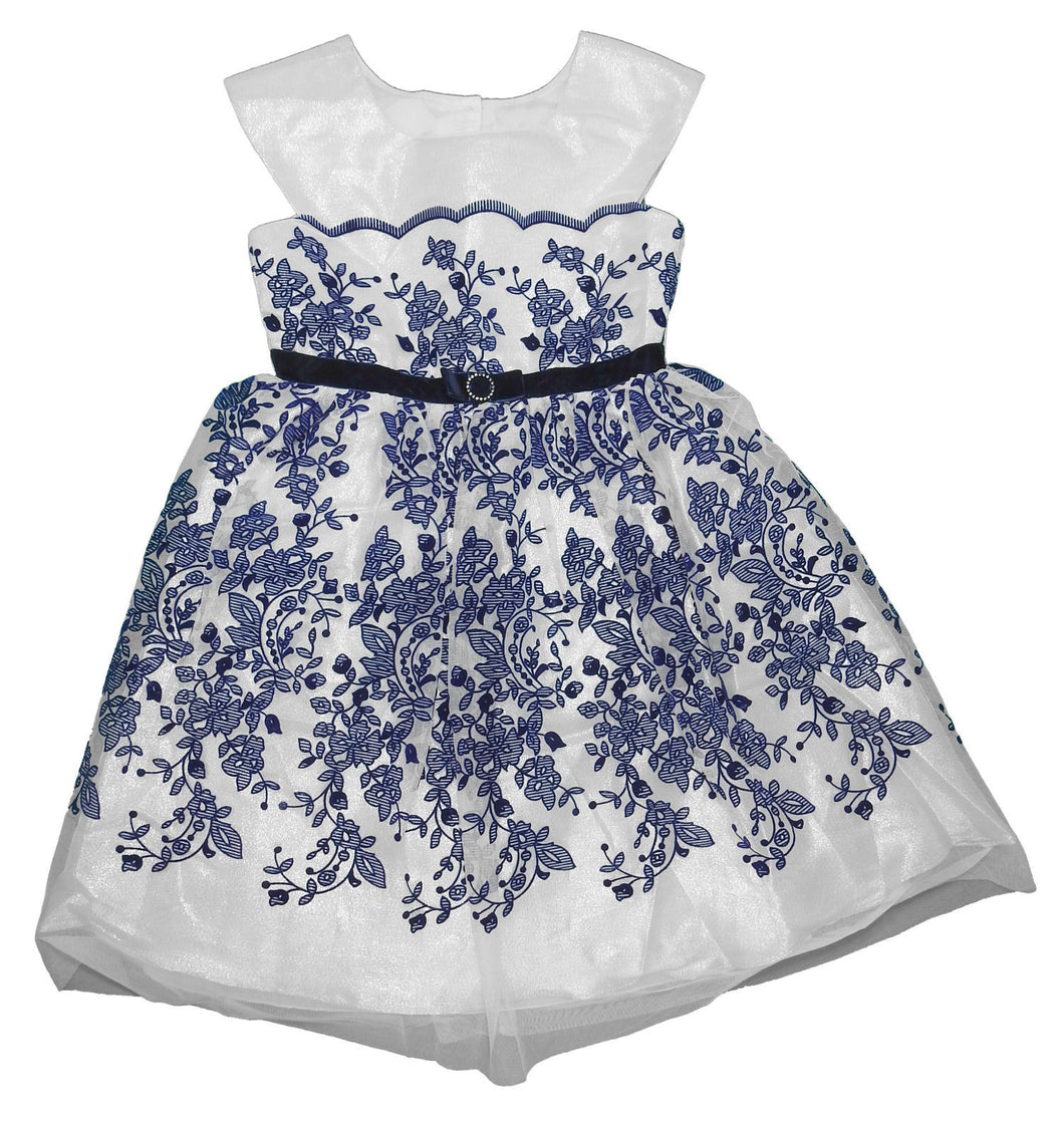 Jona Michelle Girls Size 8 Sleeveless Shimmer Party Dress, White/Navy Print