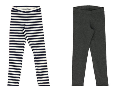 Member's Mark Girls Size 7/8 (2-Pack) My Favorite Leggings, Navy Stripe/Charcoal