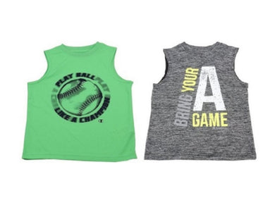 (2-Piece) Champion Boys Tank Top, Black Twisted and Neon Green