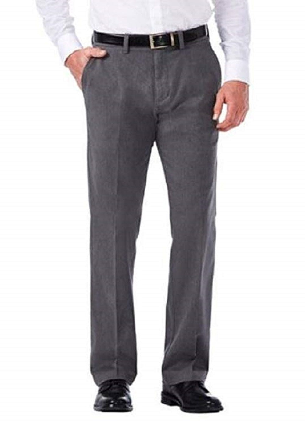 Haggar Clothing Mens SIze 34x34 Stretch Chino Flat Front Pant, Heather Charcoal