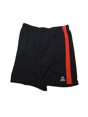Reebok Mens Size 2X-Large Relaxed-Fit Speedwick Active Shorts, Black Red