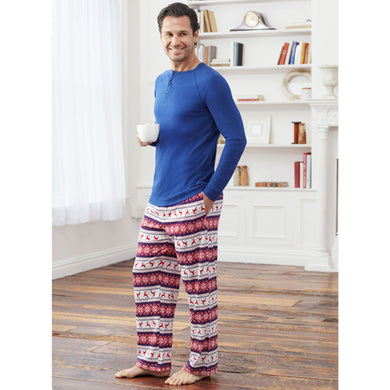 Lanz Mens Size Small 2-Piece Top & Pant Holiday Pajama Set, Navy Blue/Red/White