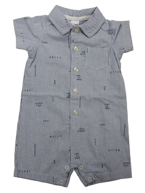 Carter's Baby Boys Short Sleeve Button Front Collar Romper, Striped Prints/Blue