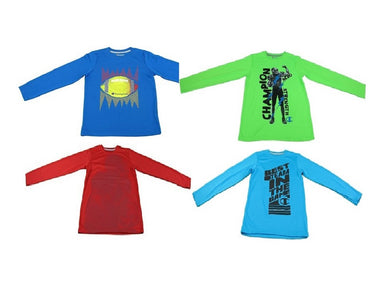(4-Pack) Champion Boys Size 5/6 Long Sleeve Shirts, Multi-Colors