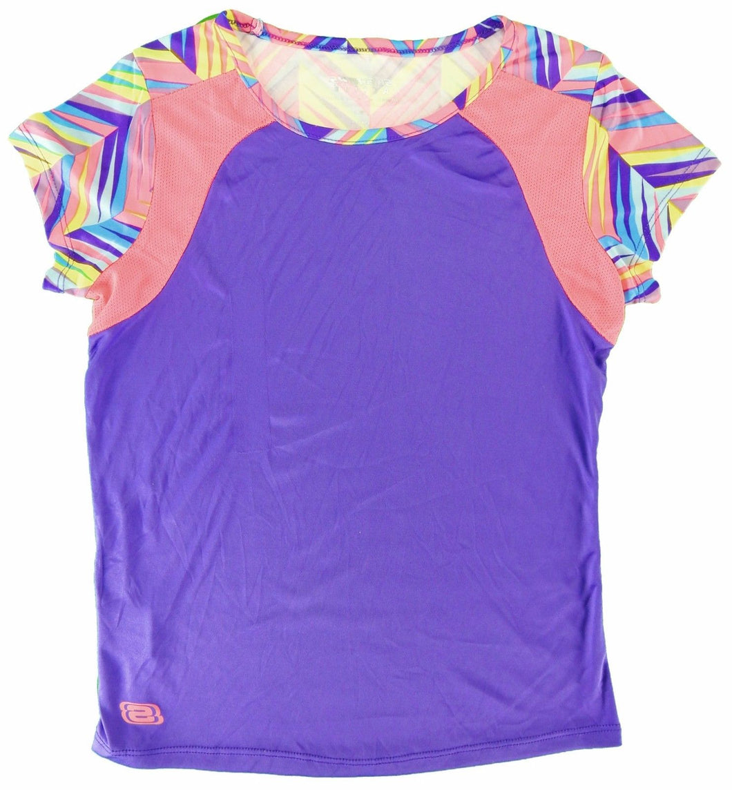 Skechers Active Girls Size 10/12 Shirt, Electric Purple/Multi-ZigZag