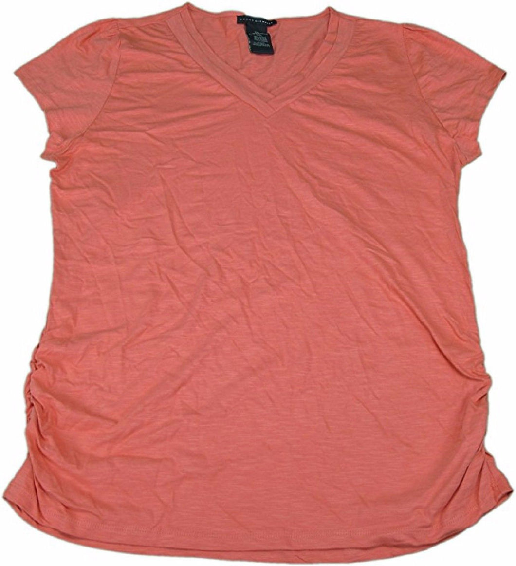 Grace Elements Ladies Size Small Short Sleeve V-Neck Knit Top, Coral Kiss