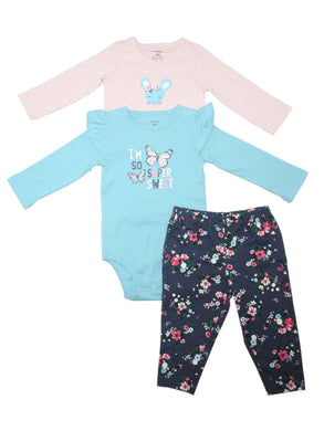 Carters Baby Girls Size 9 Months Bodysuits/Pant 3-Pc Set, Mouse/Butterfly/Floral