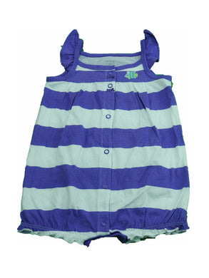 Carter's Baby Girls Flutter Sleeves Fish Bottom Striped Bubble Romper, Purple