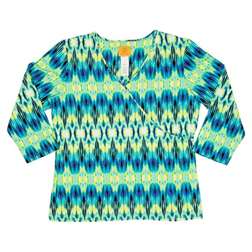 Ruby Rd Womens Size Small 3/4 Sleeve V-Neck Embellished Top, Teal/Multi