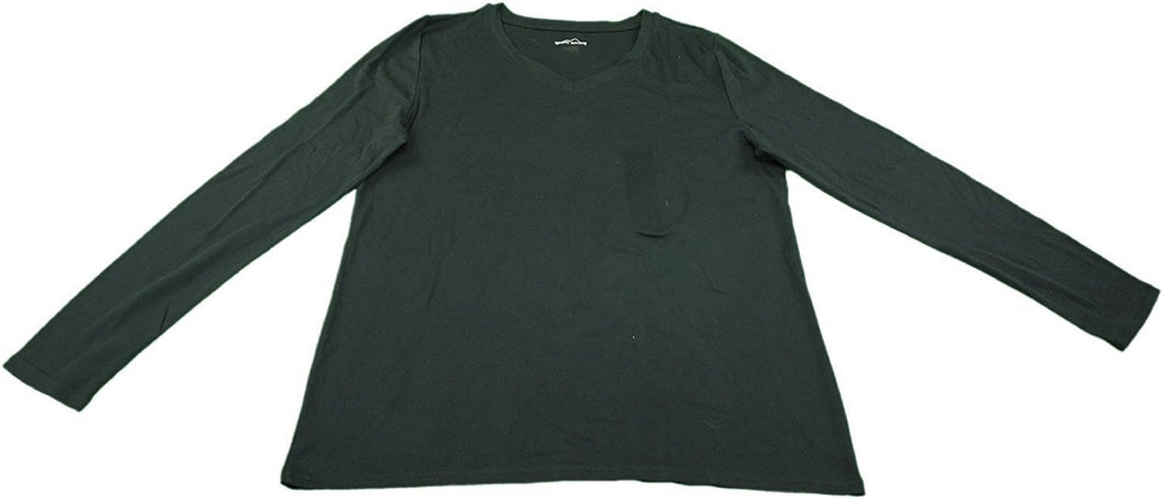 Eddie Bauer Womens Long Sleeve V-Neck T-Shirt, Black