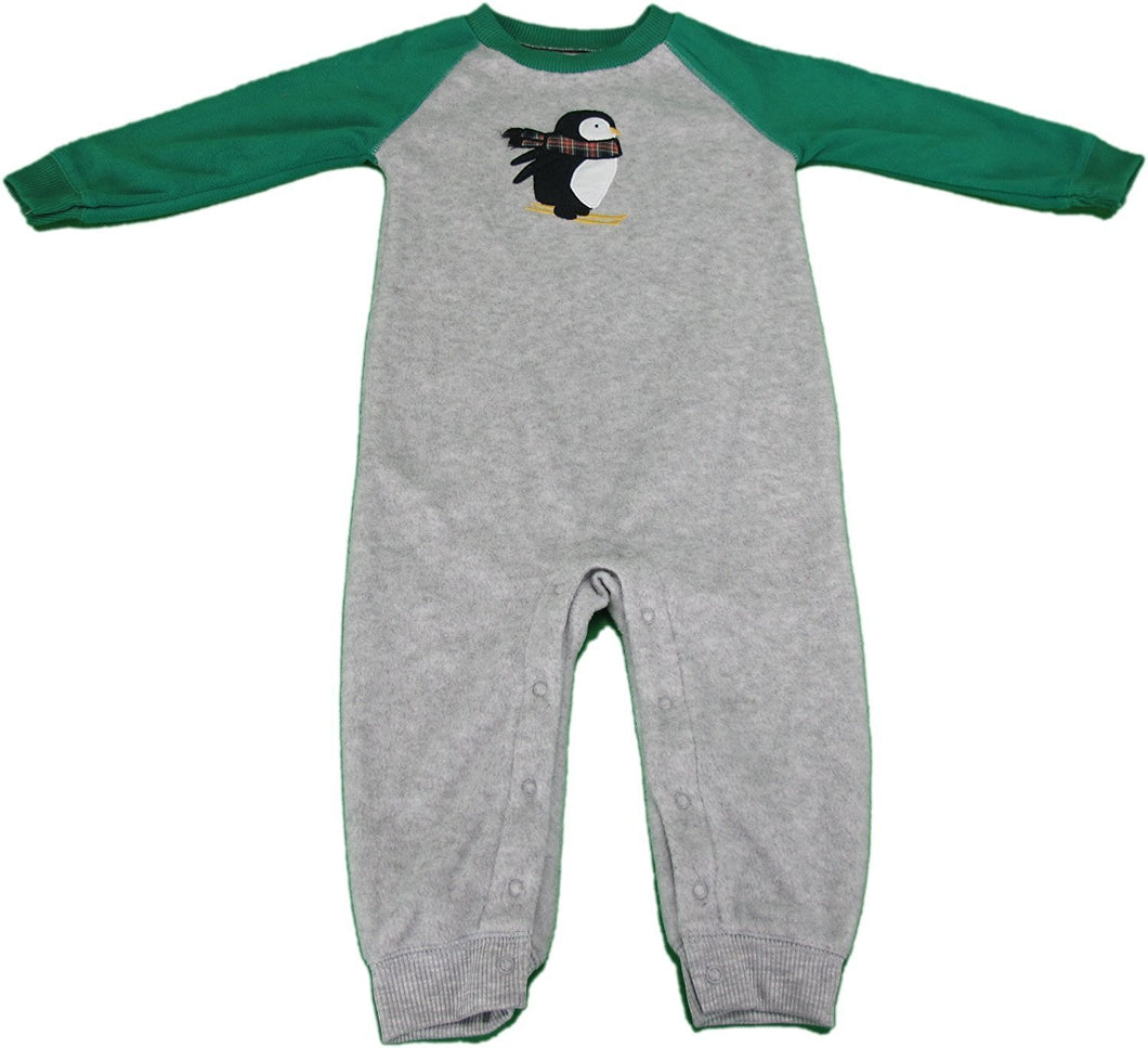 Carter's Baby 6 Months Long Sleeve Winter Body Suit Grey/Green W/Penguins