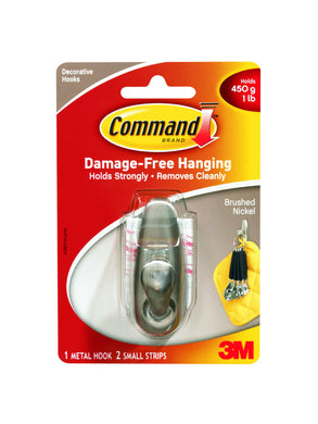 (Lot of 3) Command (FC11-BN-ES) Damage Free Decorative Hook, Brushed Nickel