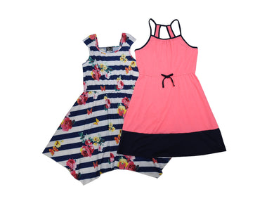 Pink + Violet 2-Pack Girls Dress, Navy Floral Stripe & Pink Solid