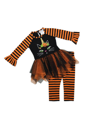 Emily Rose Little Girls Halloween Bell Sleeve Top & Leggings 2-Piece Set, Orange