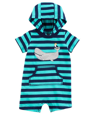 Carters Baby Boys Size 18 Month Hooded Short Sleeve Whale Romper, Turquoise/Navy
