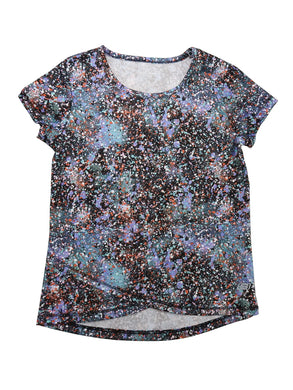 Skechers Active Girls Size 7/8 Short Sleeve Cross Hem Tee Shirt, Sweet Sprinkles