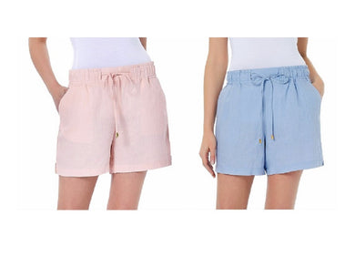 (2-Pk) Ellen Tracy Womens Medium Drawstring Waist Linen Shorts, Chambray/Champag