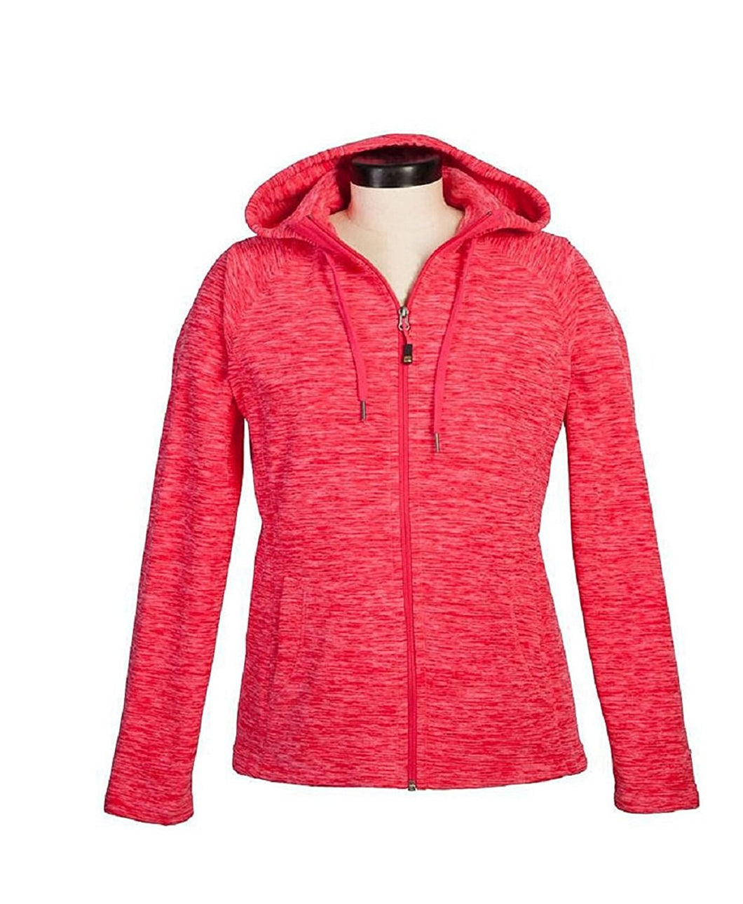Green Tea Women's Size Small Long Sleeve Full Zip Hoodie Sweat Shirt, Coral Red