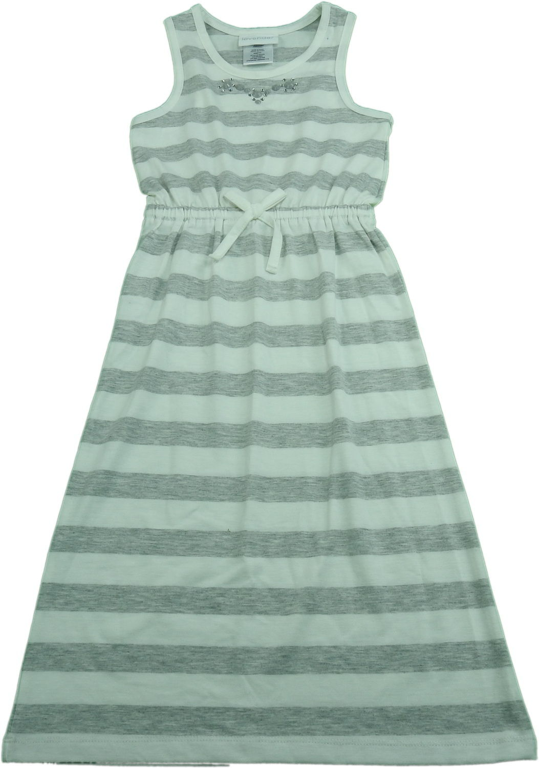 Lavender By Us Angels Girls Size 4/5 Sleeveless Striped Dress, Grey/White Stripe