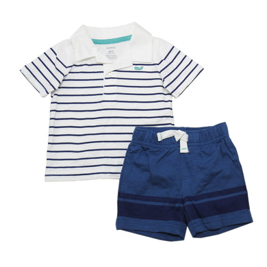 Carter's Baby Boy 2-Piece Short Sleeve Polo Shirt & Short Set, Navy/White/Multi