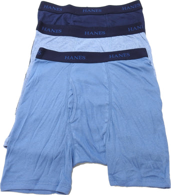 Hanes 3-Pack Mens Size Small Tagless Boxer Briefs, Blues