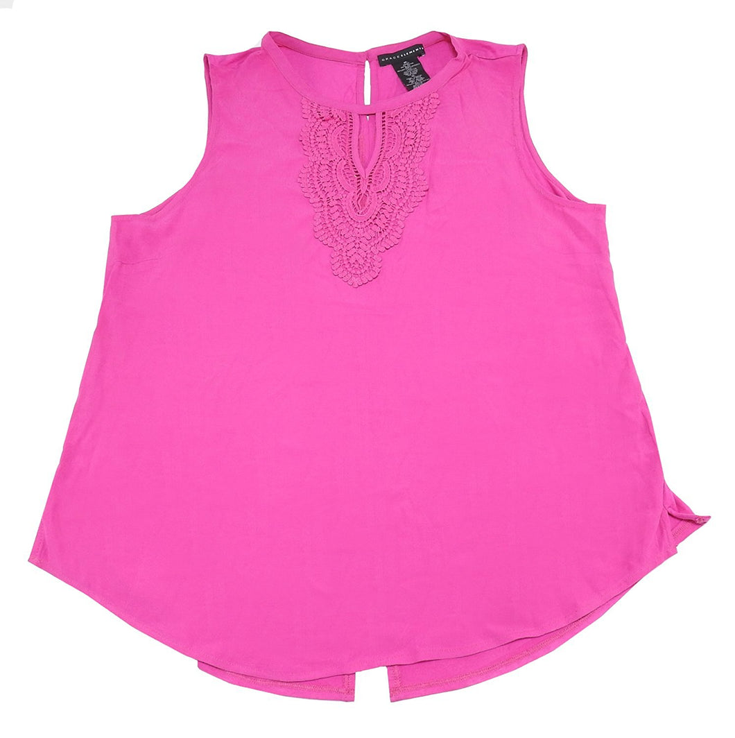 Grace Elements Womens Size XX-Large Tank w/Crochet Blouse, Mulberry Pink